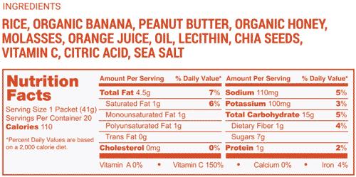 Long Haul nutrition label