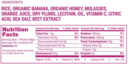Power Rush nutrition label