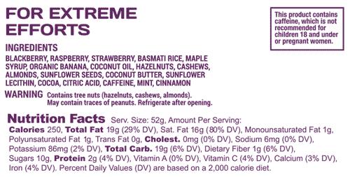 Speednut nutrition label